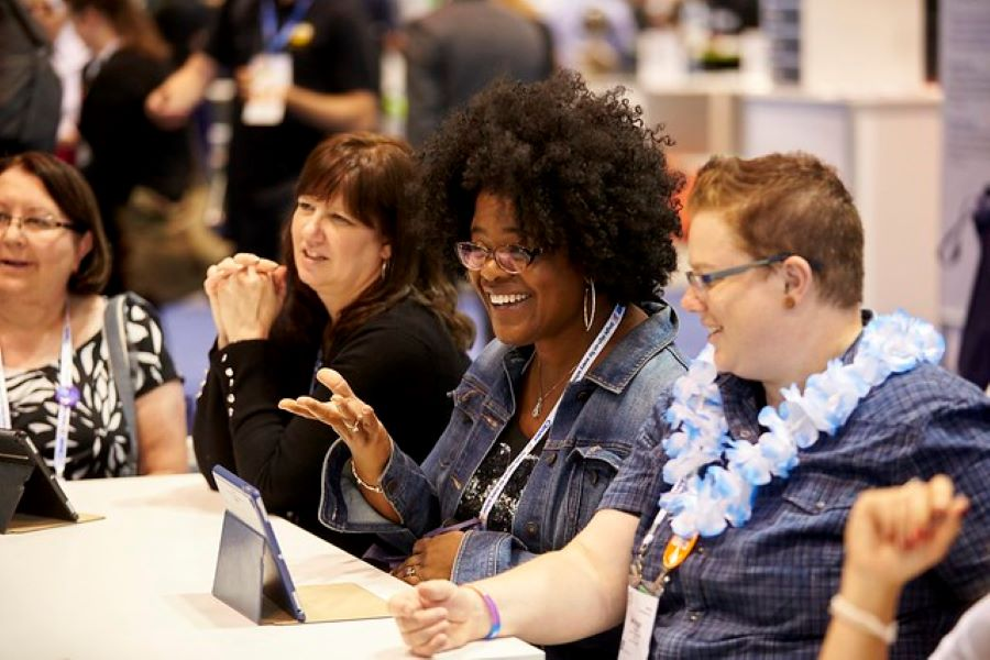 Three attendees at the ISTE Conferences