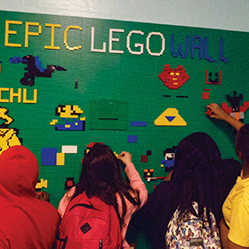 Epic LEGO wall allows anytime tinkering