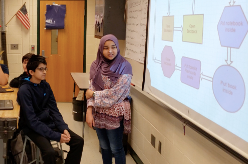 Two students study a flow chart to learn computational thinking