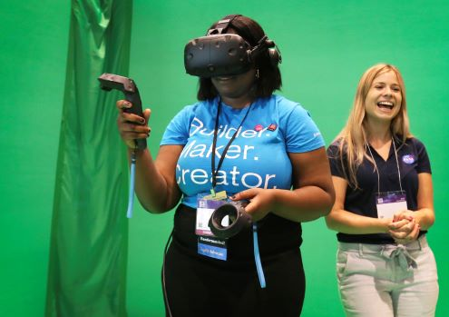 Educator using a virtual reality device.