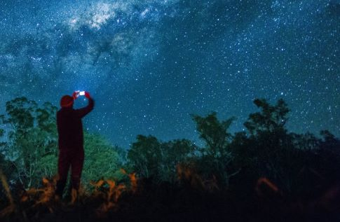 a person takes a picture of the night sky with a smartphone