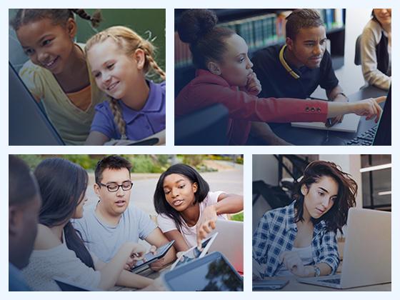 Un collage de fotos que muestran a los estudiantes usando tecnología