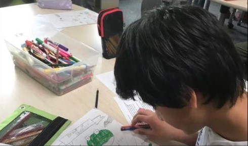 a boy sketching a frog in school