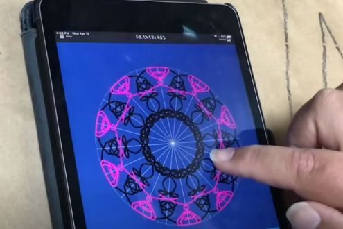 a person making a digital drawing on a phone