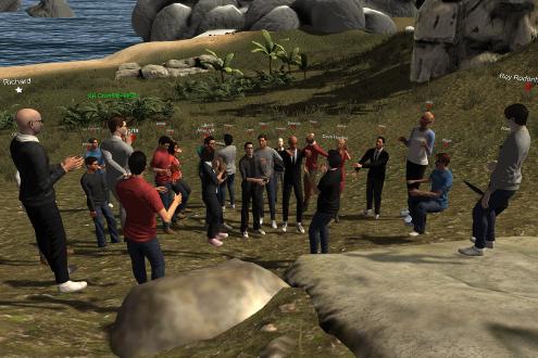 avatars meet in a virtual world