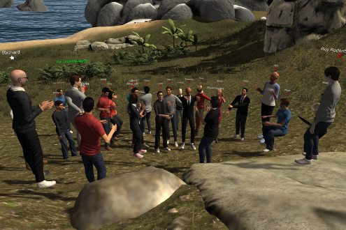 avatars meet in a virtual world