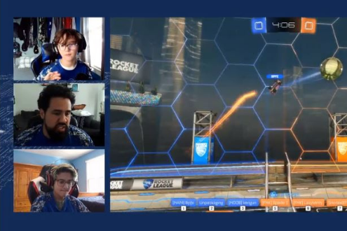 three people on a screen play a video game online