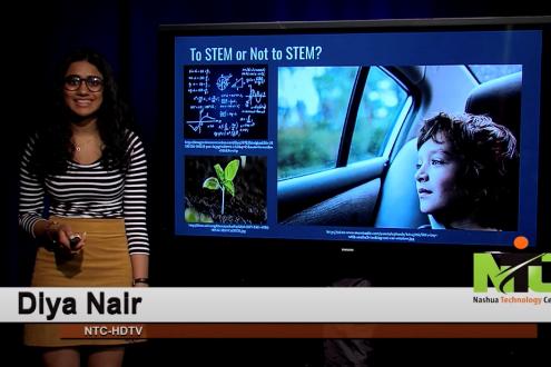 Diya Nair gives a presentation on girls in computer science