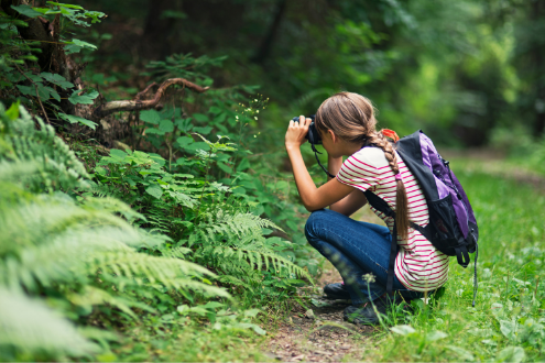 A girl takes a picture of nature