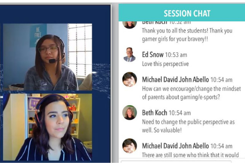 a screenshot of student gamers presenting at the virtual conference ISTE20 Live