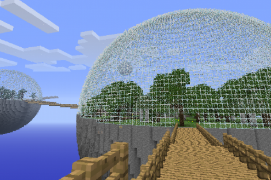 A glass dome in Minecraft