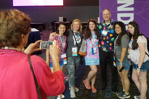 ISTE Founder Dave Moursund poses with educators at ISTE19