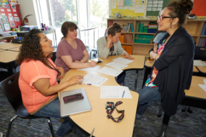 a group of teachers in a room collaborating